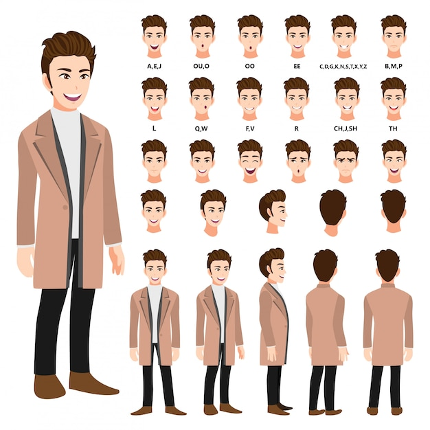 Cartoon character with business man in a long coat for animation. front, side, back, several view character. separate parts of body. flat vector illustration. Premium Vector