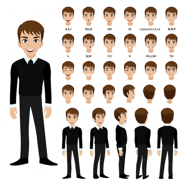 Cartoon character with business man in suit for animation. Premium Vector