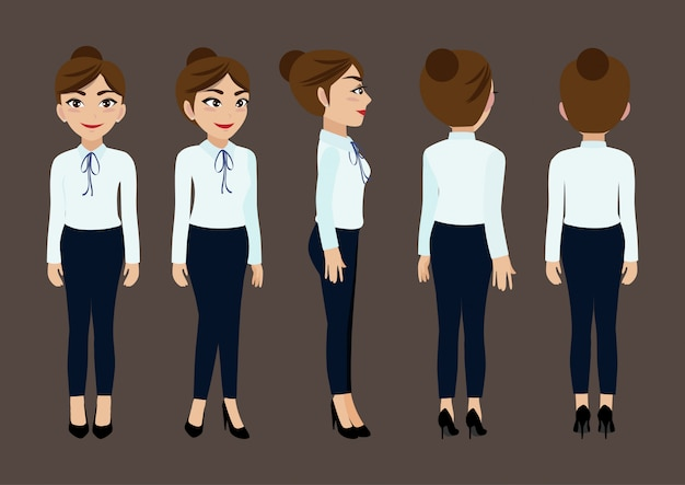Cartoon character with business woman for animation. Premium Vector