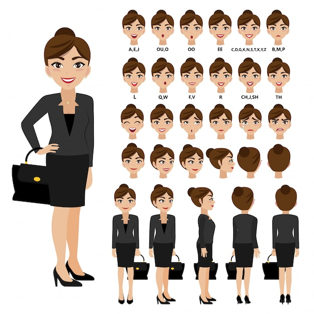 Cartoon character with business woman in suit for animation. Premium Vector