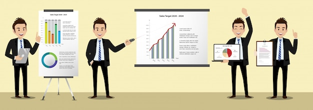 Cartoon character with businessman working and present to public area character vector design. Premium Vector