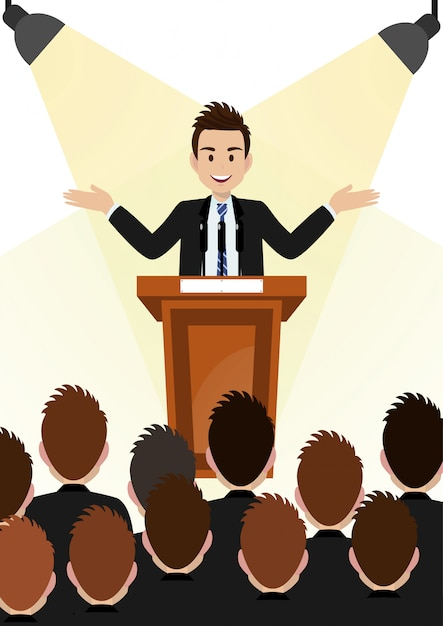 Cartoon character with businessman working and present to public area on podium character vector design. Premium Vector