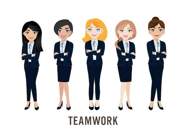Cartoon character with businesswoman Premium Vector