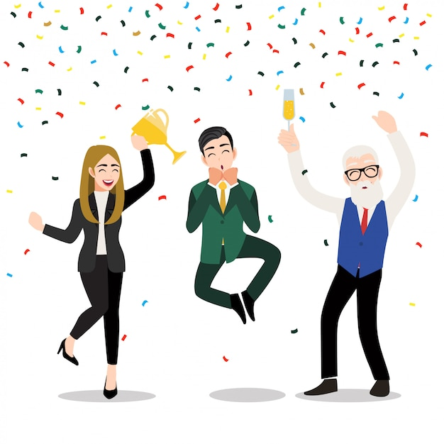 Cartoon character with happy business people. the winner business concept   illustration Premium Vector