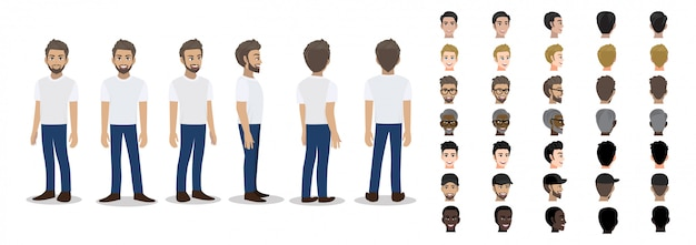 Cartoon character with a man in t-shirt white casual for animation Premium Vector