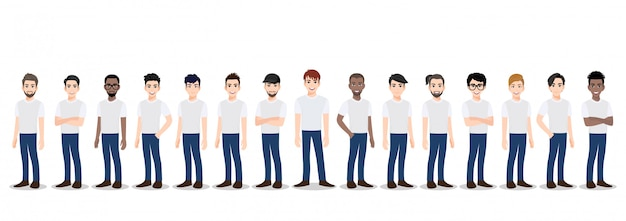 Cartoon character with the men team in t-shirt white and blue jean casual Premium Vector