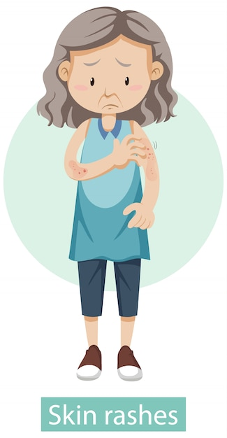 Cartoon character with skin rashes symptoms Free Vector