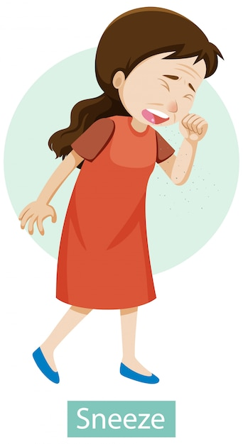 Cartoon character with sneeze symptoms Free Vector