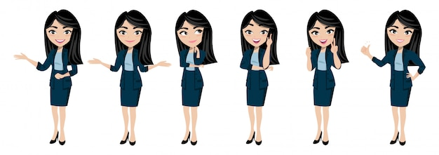 Cartoon character with young lady vector Premium Vector