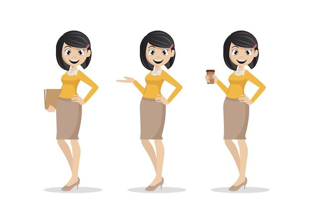 Cartoon character, young businesswomen set., vector eps10 Premium Vector