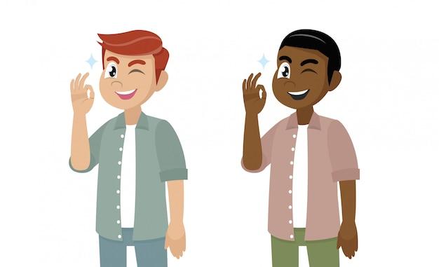 Cartoon character, young man showing okay or ok gesture. Premium Vector
