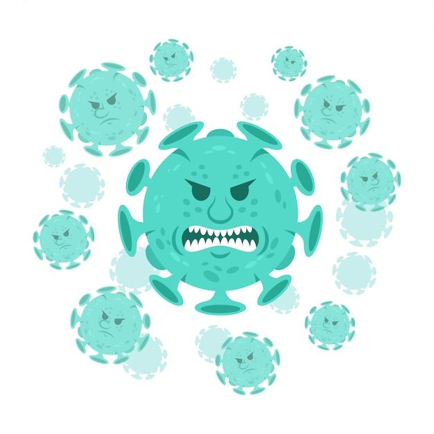 漫画のキャラクター怒っている絵文字コロナウイルス微生物covid-19。 Premiumベクター