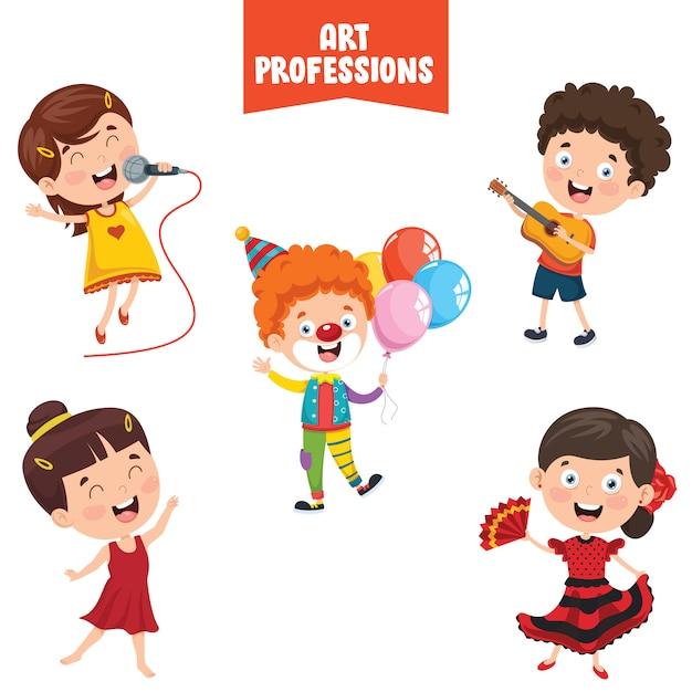 Cartoon characters of art professions Premium Vector