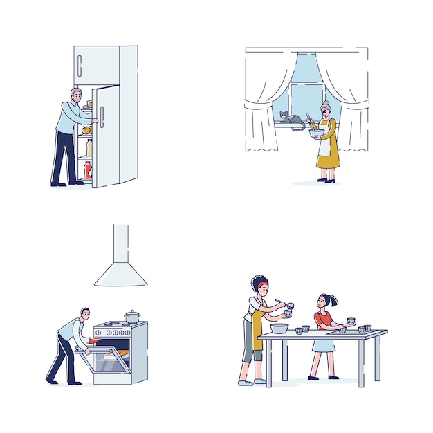 Cartoon characters cooking: family members preparing food. grandparents, parents and daughter with cooking appliances and utensils making dishes Premium Vector