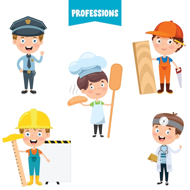 Cartoon characters of different professions Premium Vector