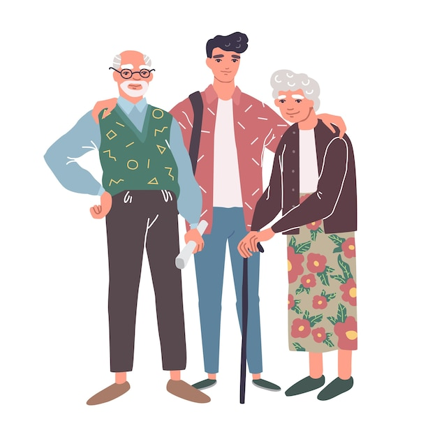 Cartoon characters of grandparents with grandson. happy family Premium Vector