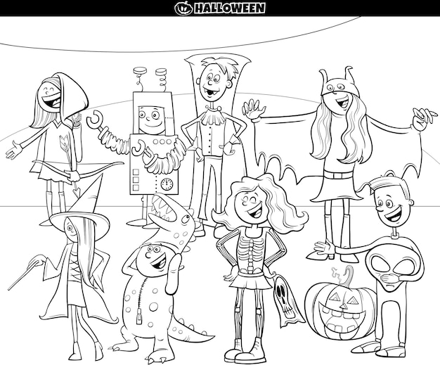 Premium Vector Cartoon Characters At Halloween Party Coloring Book Page