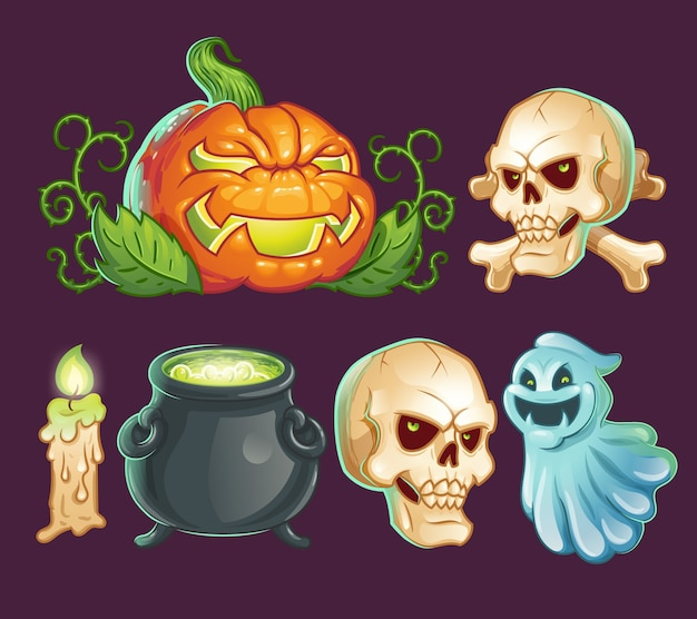 Cartoon characters, icons, stickers for Halloween Vector | Free ...