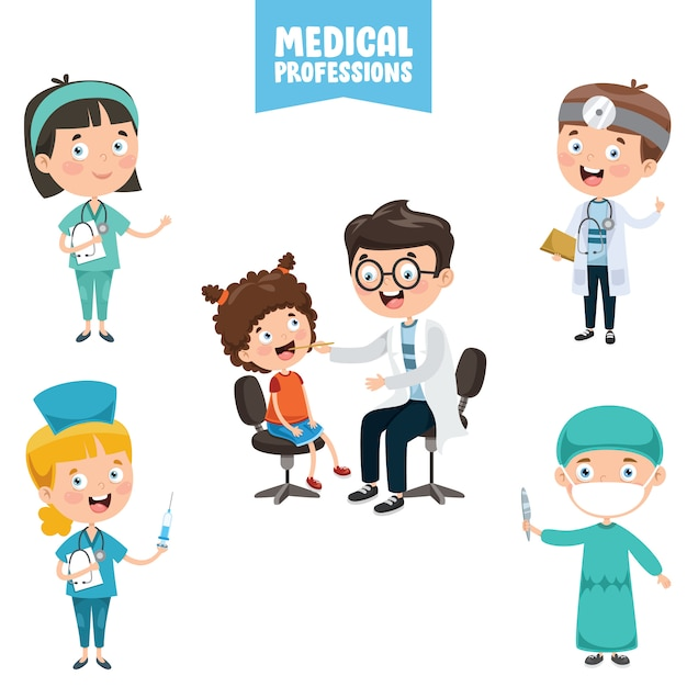Cartoon characters of medical professions Premium Vector