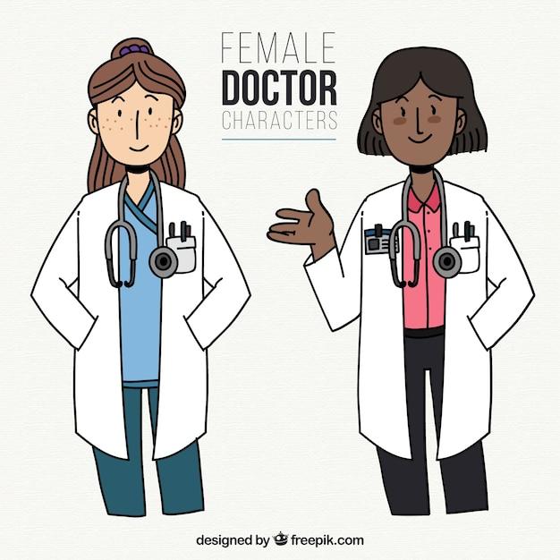 Cartoon characters of female doctors