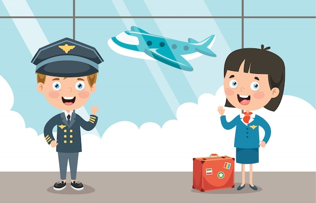 Cartoon characters of pilot and hostess Premium Vector