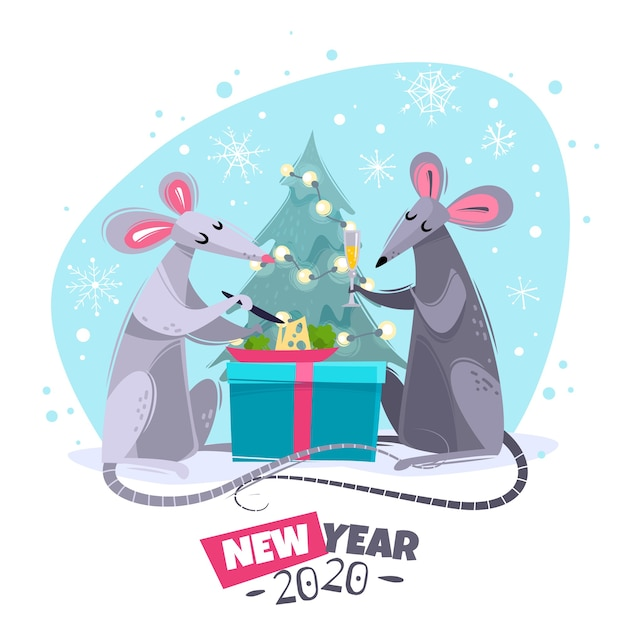 Cartoon characters rats mice illustration Premium Vector
