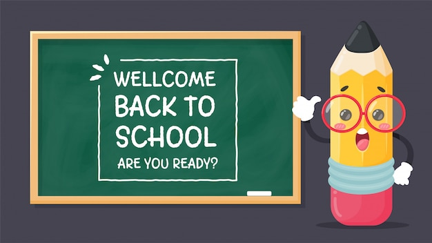 Cartoon characters stationery write a message welcom back to school. are you ready? with a shock on the blackboard. Premium Vector