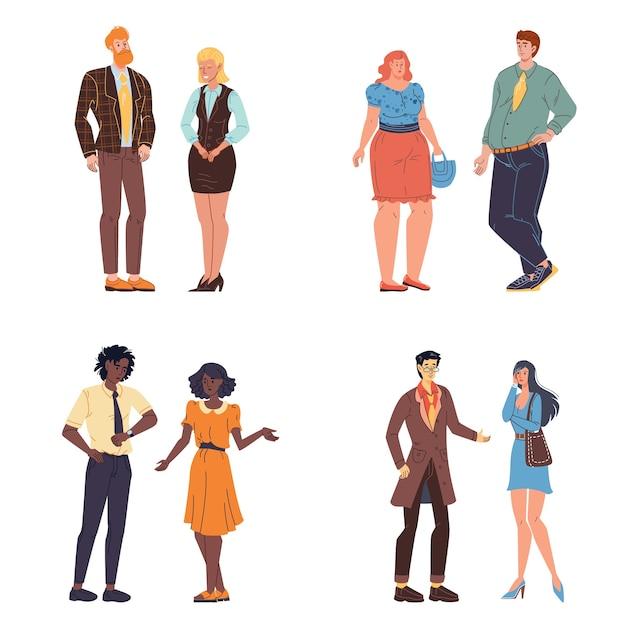 Герои мультфильмов разговаривают и общаются - разные лица, позы, размеры тела и эмоции. Premium векторы