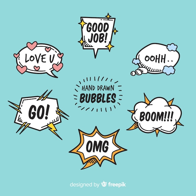 Free Vector Cartoon Chat Bubbles With Variety Of Messages