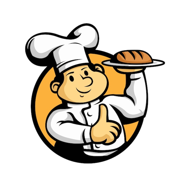 漫画のシェフのパンのマスコットは親指を立てます。 Premiumベクター
