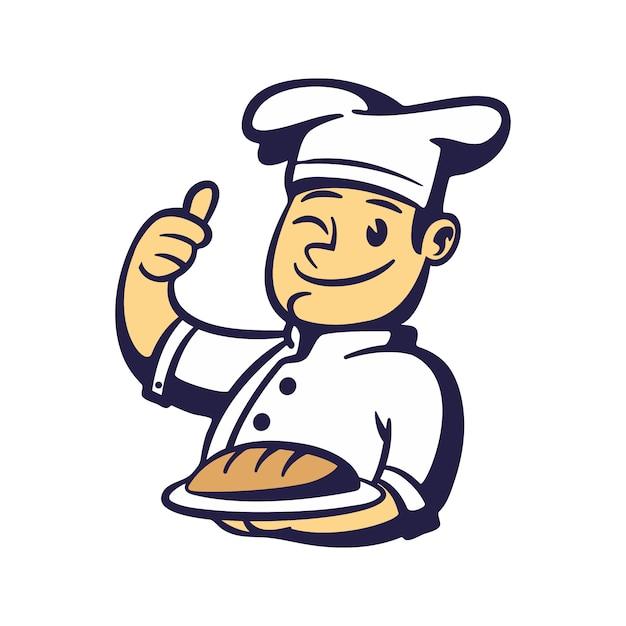 Мультфильм шеф-повар хлеб талисман Premium векторы