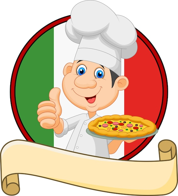 Cartoon chef holding a pizza and giving a thumbs up Premium Vector