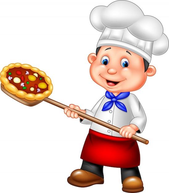 Cartoon chef holding pizza Premium Vector