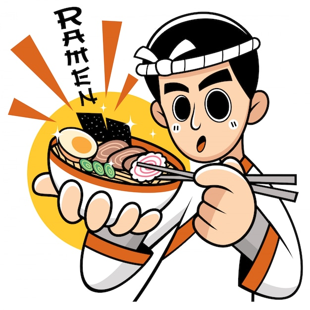 Cartoon chef japanese noodles presenting food. wording meanings : ramen Premium Vector
