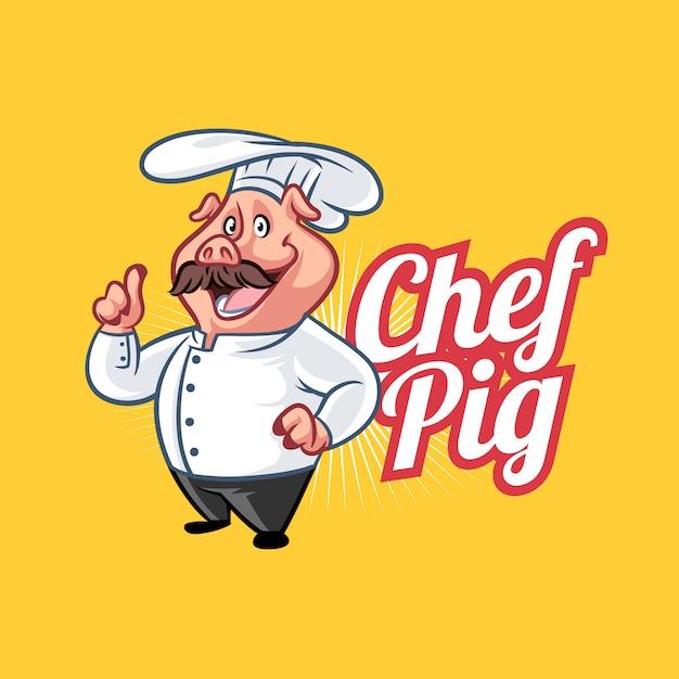 Cartoon chef pig mascot logo Premium Vector