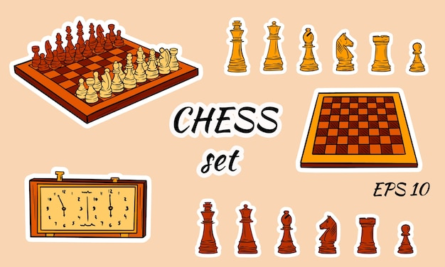 Cartoon chess pieces. Premium Vector