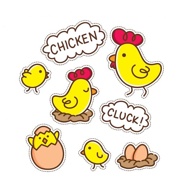 Cartoon chicken patch Premium Vector