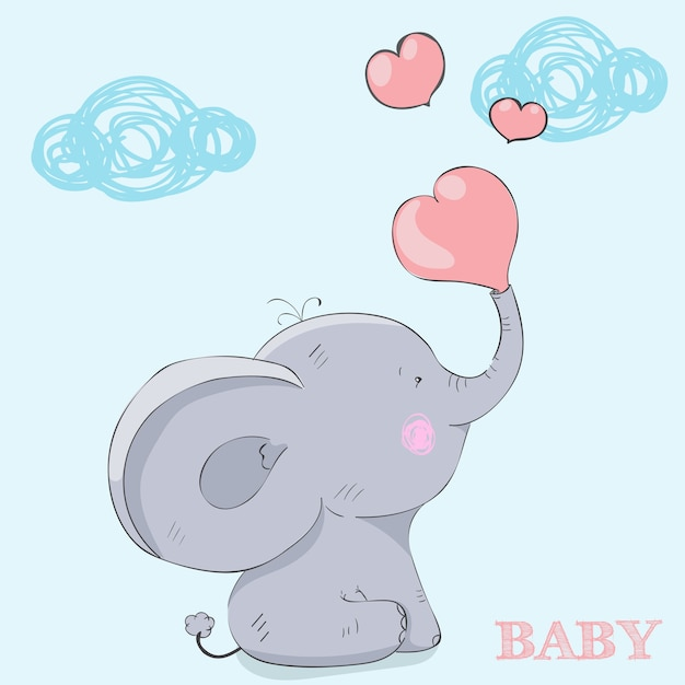 Cartoon child elephant sitting.postcard happy valentine's day Premium Vector