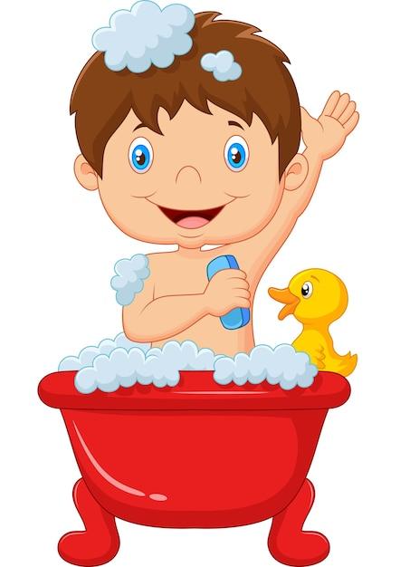 Cartoon child taking a bath Premium Vector