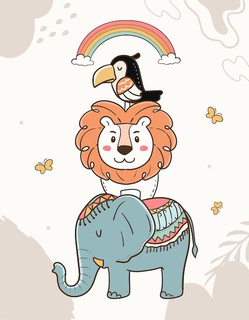 漫画の幼稚な動物のイラスト。象、ライオン、オオハシ、虹。 Premiumベクター