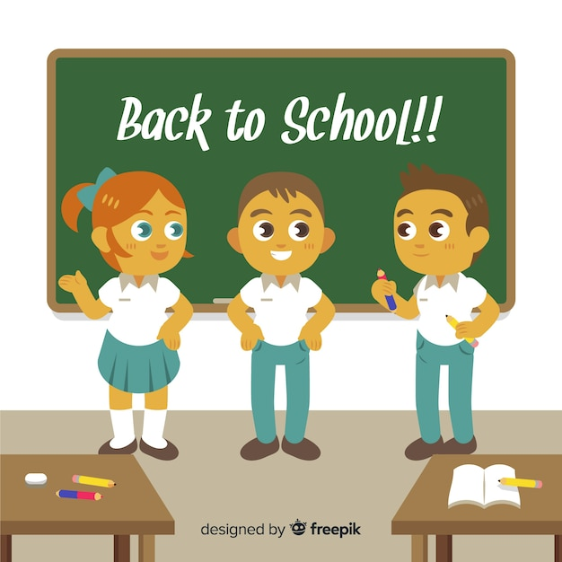 Cartoon children back to school background Free Vector