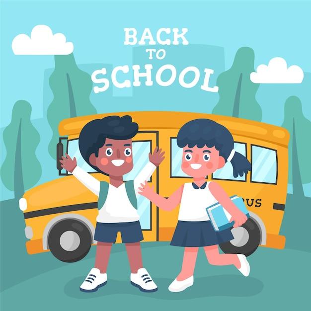Bambini del fumetto di nuovo al concetto di scuola Vettore gratuito