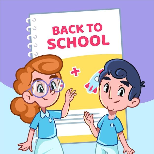 学校のコンセプトに戻る漫画の子供たち 無料ベクター