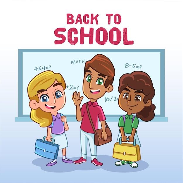 学校に戻って漫画の子供たち 無料ベクター
