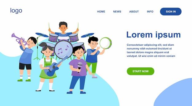Cartoon bambini banda piatta illustrazione vettoriale Vettore gratuito
