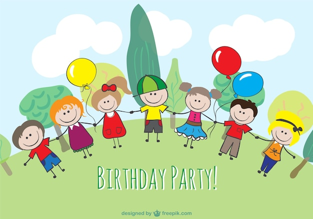 Cartoon children birthday design Free Vector