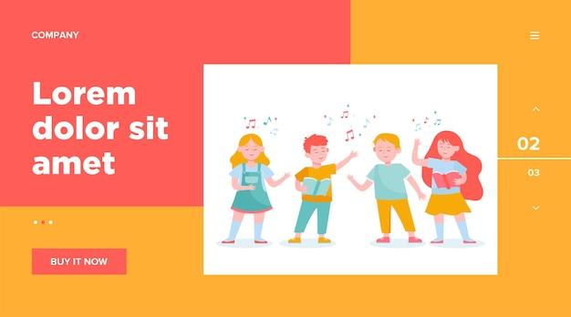 Cartoon children choir flat illustration Free Vector
