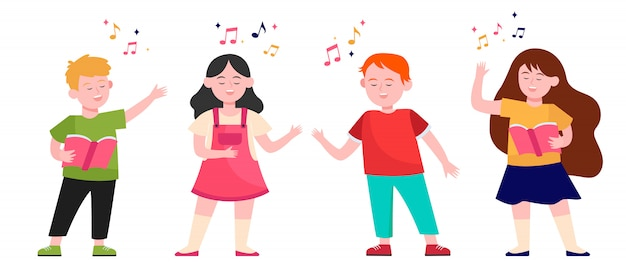 Cartoon children choir Free Vector