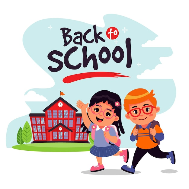 学校に戻る漫画の子供たち 無料ベクター
