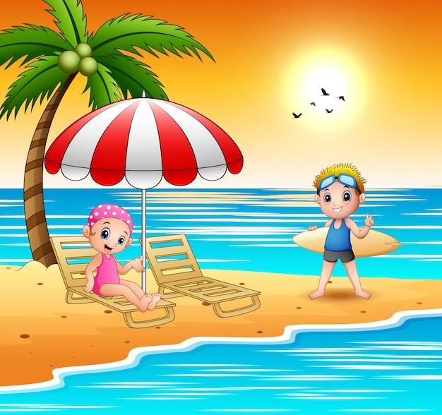 Cartoon children relax at the beach Premium Vector